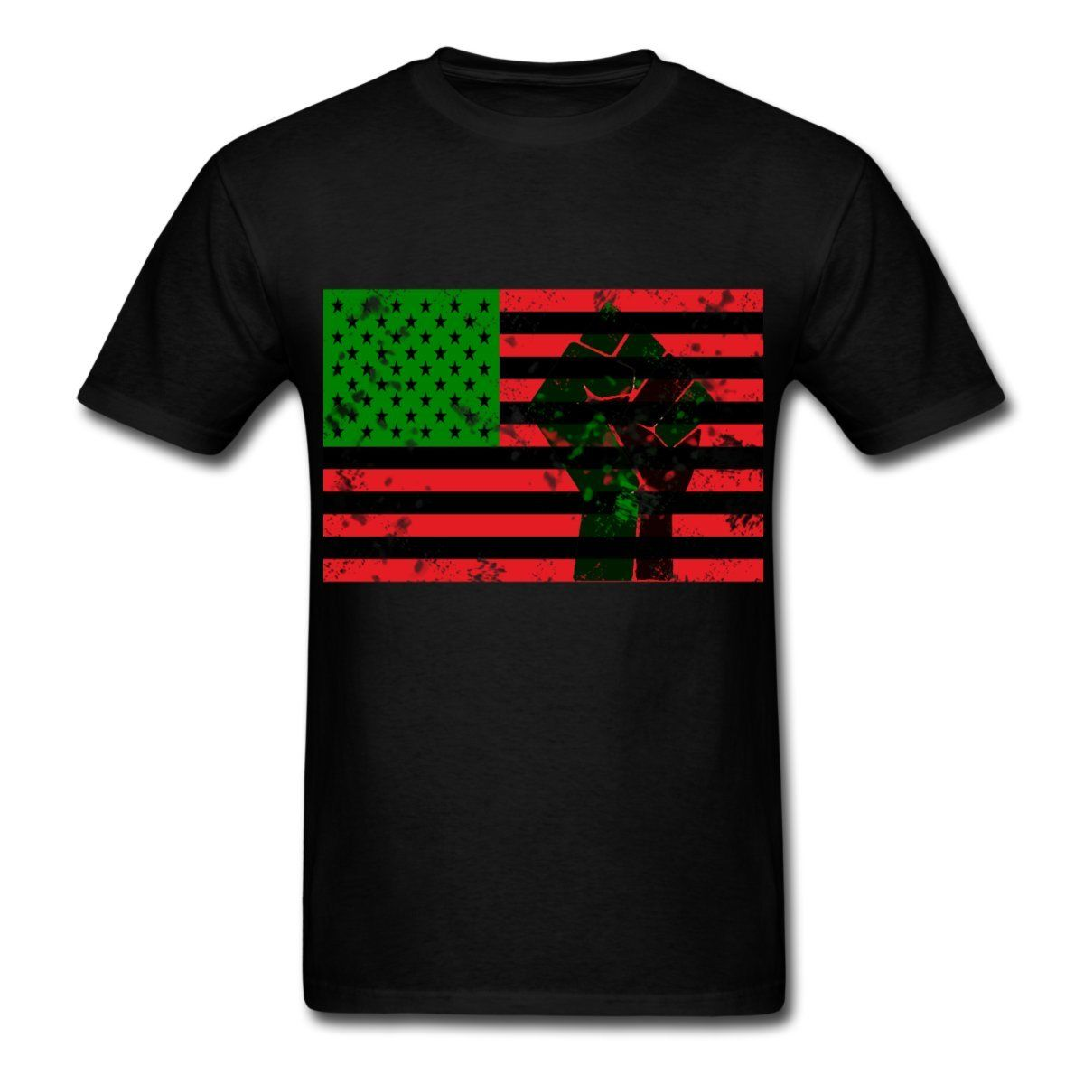 Pan African Flag With Fist Mens T-Shirt Newest 2017 Fashion Stranger Things T Shirt Men Round Neck Teenage Pop Top Tee