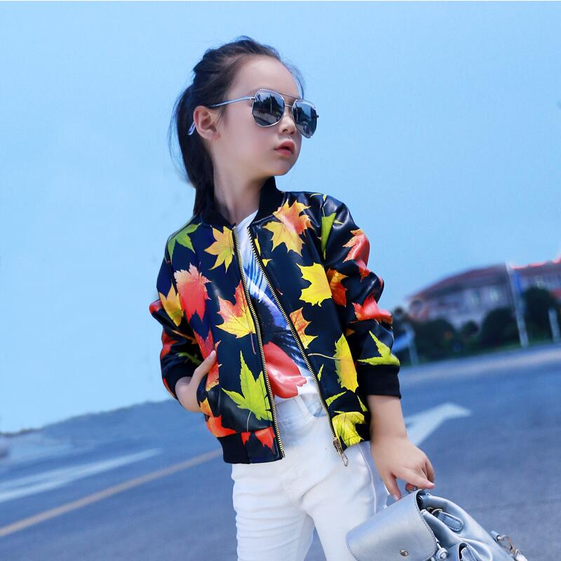 JENYA 2017 Hot Sale High Quality Children Coat Girls New Pu Leaves Print Short Faux Leather Thin Kids Jacket Baby Outwear tropical leaves print tapestry
