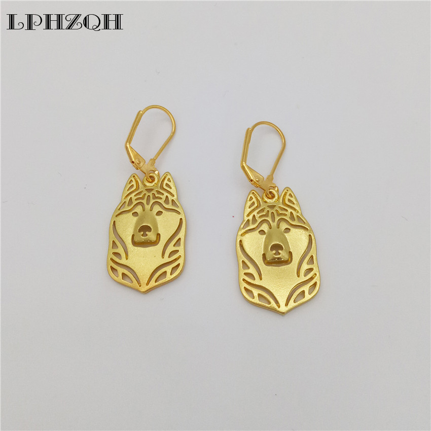 LPHZQH trendy cute Siberian Husky dog Earings For Women fashion jewelery drop earings Christmas gift jewelry gold silver color