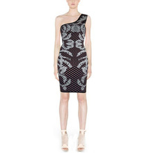 HLBCBG Schulter Verbandkleid, Figurbetontes Kleid Cocktail Party Kleid 2184 # XS S M L