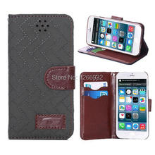 Luxury For Apple iPhone 6 (4.7 inch) Retro Soft Touching Checkered Tartan Skin Leather Flip Case With Stand Holder Wallet Case