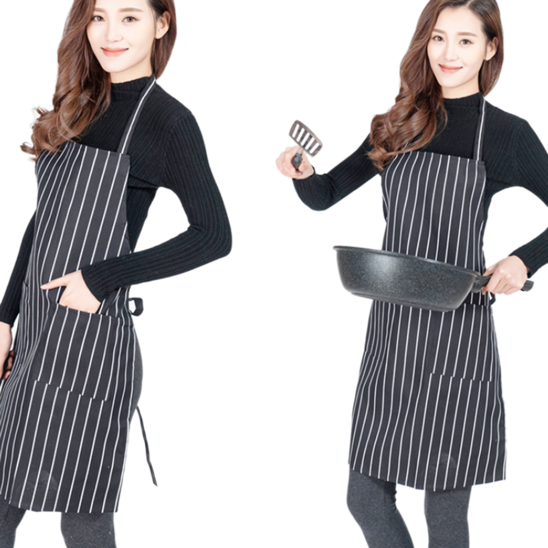 White aprons for sale - Hot Sale Stripes Working Apron Kitchen Restaurant Cooking Baking Apron With Pocket Monther Gift Black White
