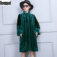 Nerazzurri New 2017 Winter Real Fur Wool Coat Women Patchwork Fashion Long Thick Warm Sheep Shearing Jackets Plus Size 5XL 6XL
