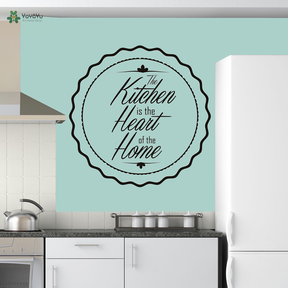 YOYOYU Vinyl Wall Decal quot The Kitchen Is The Heart Family Home quot Quotes Statement Home Decoration Stickers FD199 in Wall Stickers from Home amp Garden