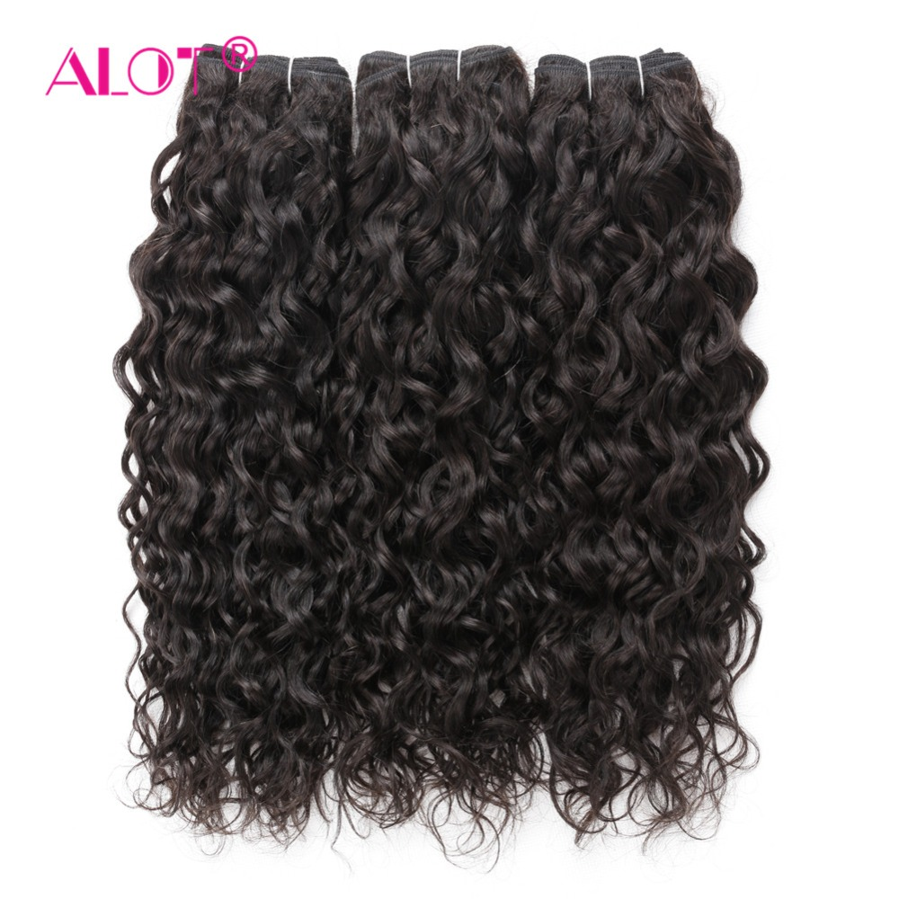 Alot Brazilian Water Wave Human Hair 3/4 Bundles Hair Weaving 8 To 28 Inch Machine Double Weft Non Remy Hair Extensions
