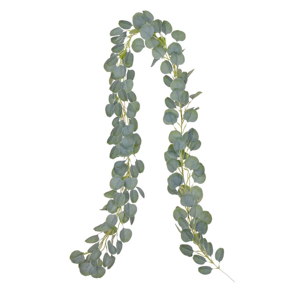 e2f4cfee88714 2 M de vid Artificial imitación de Eucalyptus hojas redondas artificiales  vid ratán DIY guirnalda hogar boda decoración