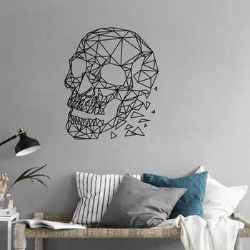 Crânio geométrico removível adesivo de parede sala estar sofá fundo decoração da sua casa horror decalques da parede do vinil quarto arte mural s045