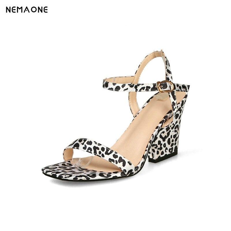 af8fdcc317a1 NEMAONE Plus Size 44 leopard Sandals Women Open Toe Footwear High Heels  Shoes Female Party Shoes Woman Summer 2019 New