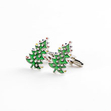 Запонки на рождественскую елку, декоративные запонки на елку, французские запонки на рубашку с кристаллами, зеленые эмалированные запонки, Классические куфлинки, мужские подарки