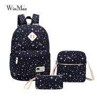 Hot 3Pcs Sets Womens Man Galaxy Stars Backpacks Canvas School Book Bags Teenager Backpacks High Quality