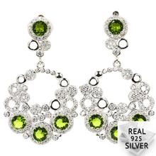 8.5g Real 925 Solid Sterling Silver Deluxe Green Peridot CZ Man Engagement Earrings 41x25mm