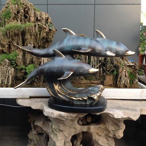 La statua in bronzo della decorazione tre delfini marine animali Arredamento Per La Casa mestieri d'arte ufficio Astratta degli animali decorazione