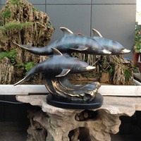 The bronze statue decoration three dolphins marine animal Home Furnishing crafts art office Abstract animal decoration