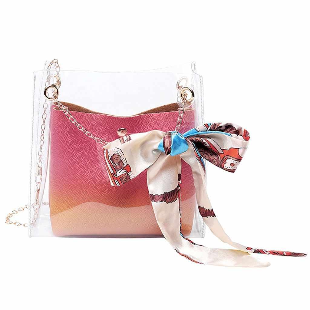 Luxe Meisjes Schoudertassen Transparante Boog Lint Vrouwen Messenger Bag Mode Kleine Dames Crossbody Tas Bolsa Feminina # Y