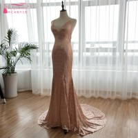 Sparkly BlingBling Evening Dresses 2018 Rose Gold Sequined Long Prom Dress V Neck Backless Maid Of Honor gowns ZE029
