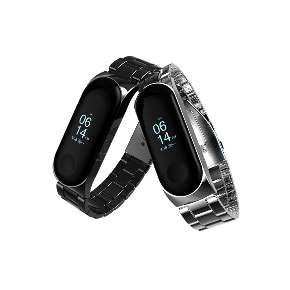 FGHGF Mi Band 3 Strap Screwless Stainless Steel Bracelet Smart Band My Miband 3 Replace Accessories Black For Xiaomi Mi Band 3