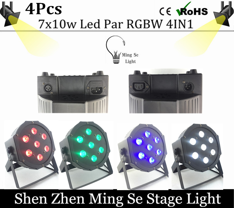 ФОТО 4cs/lot  10w lamp beads 7x10W led Par lights RGBW 4in1 flat par led dmx512 disco lights professional stage dj equipment