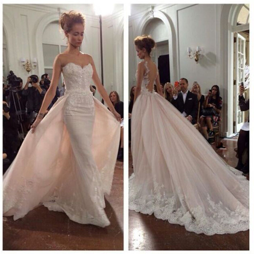 2016 Glamorous Bridal Gown Overskirt Illusion O Neck Appliqued Beaded Pearls Sheer Back Wedding Dresses With Train In From Weddings Events