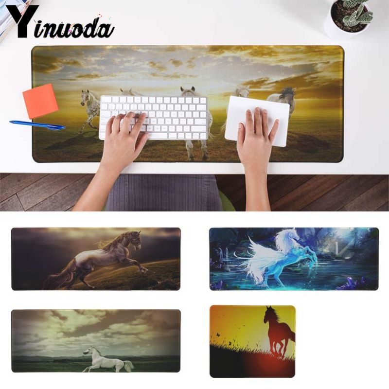 Yinuoda Running horse Printing Pattern Mouse Mat Gaming Mousepad Size for 30x90cm and 40x90cm Gaming Mousepads