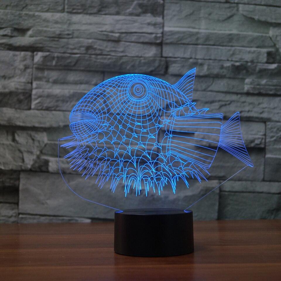 Творческие странные Рыба Моделирование светодиодный 3D Визуальный 7 цветов акрил ночник USB животных настольная лампа для детей Подарки прик...