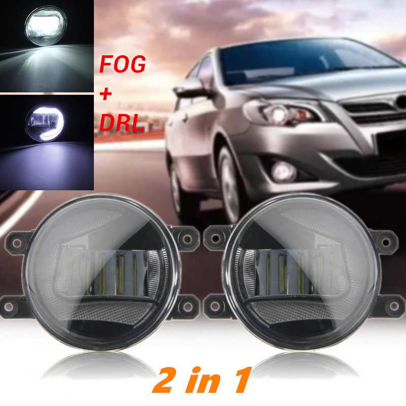 3.5 inch High Power LED Car Angel Eye Halo Ring Day Driving Light DRL Fog Lamp Lights 2 in 1 For Toyota Car Front Lamp Light 2pcs 2 5 car angel eye cob ice blue halo ring led drl projector fog driving light