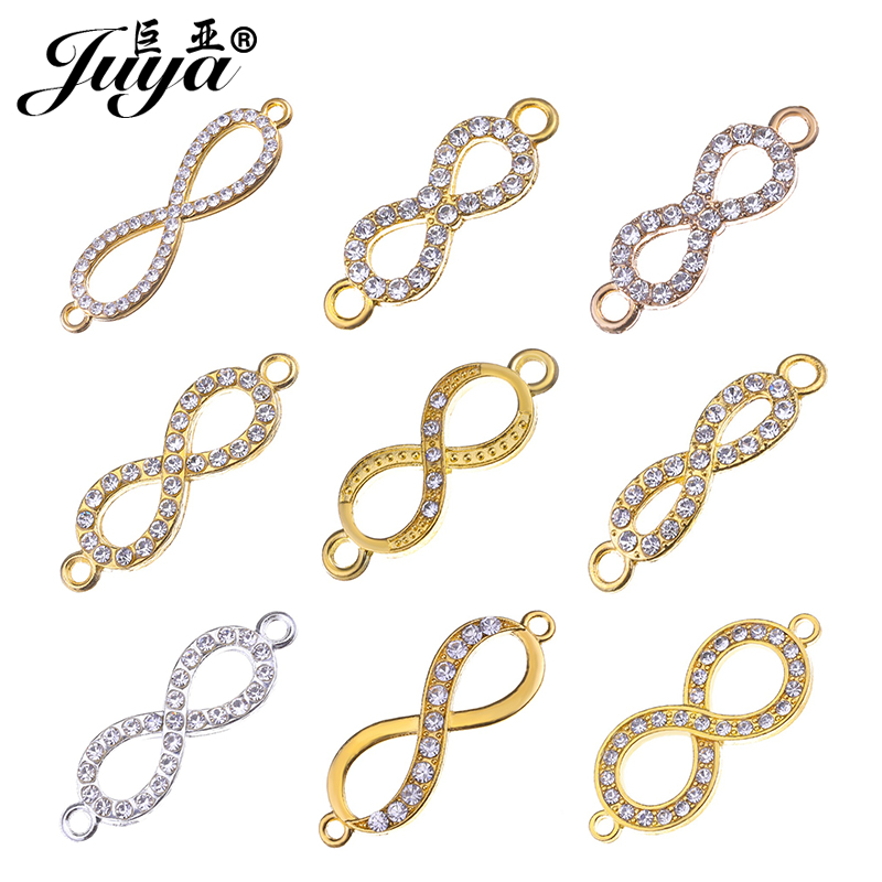 JUYA Silver Plated Various Infinity Crystal Connectors For Jewelry Making Bracelet Necklace Jewelry Findings Accessories DIY