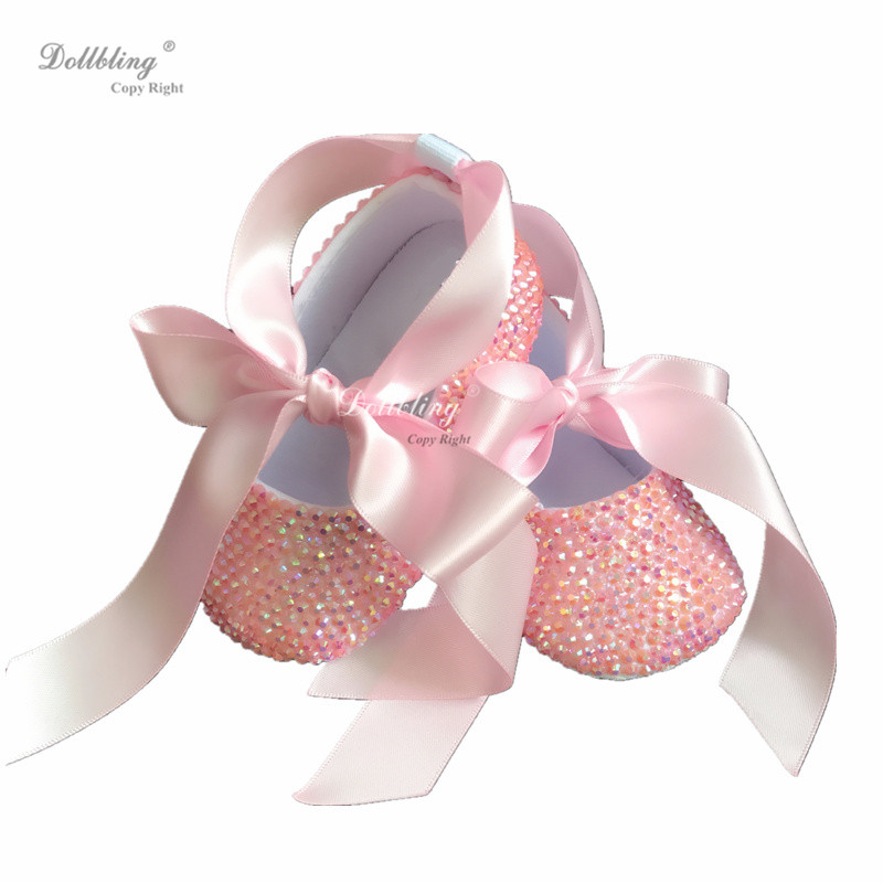 Dollbling conçu tout couvert gelée rose strass bébé ballet baptême petit déjeuner à Sandbeach bébé chaussures aller pour des vacances