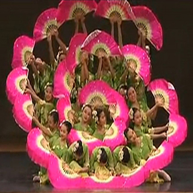 Chinese Traditional Polyester Fans Veils with 2 sides Gradient color Stage Show Props Fans double side different colors