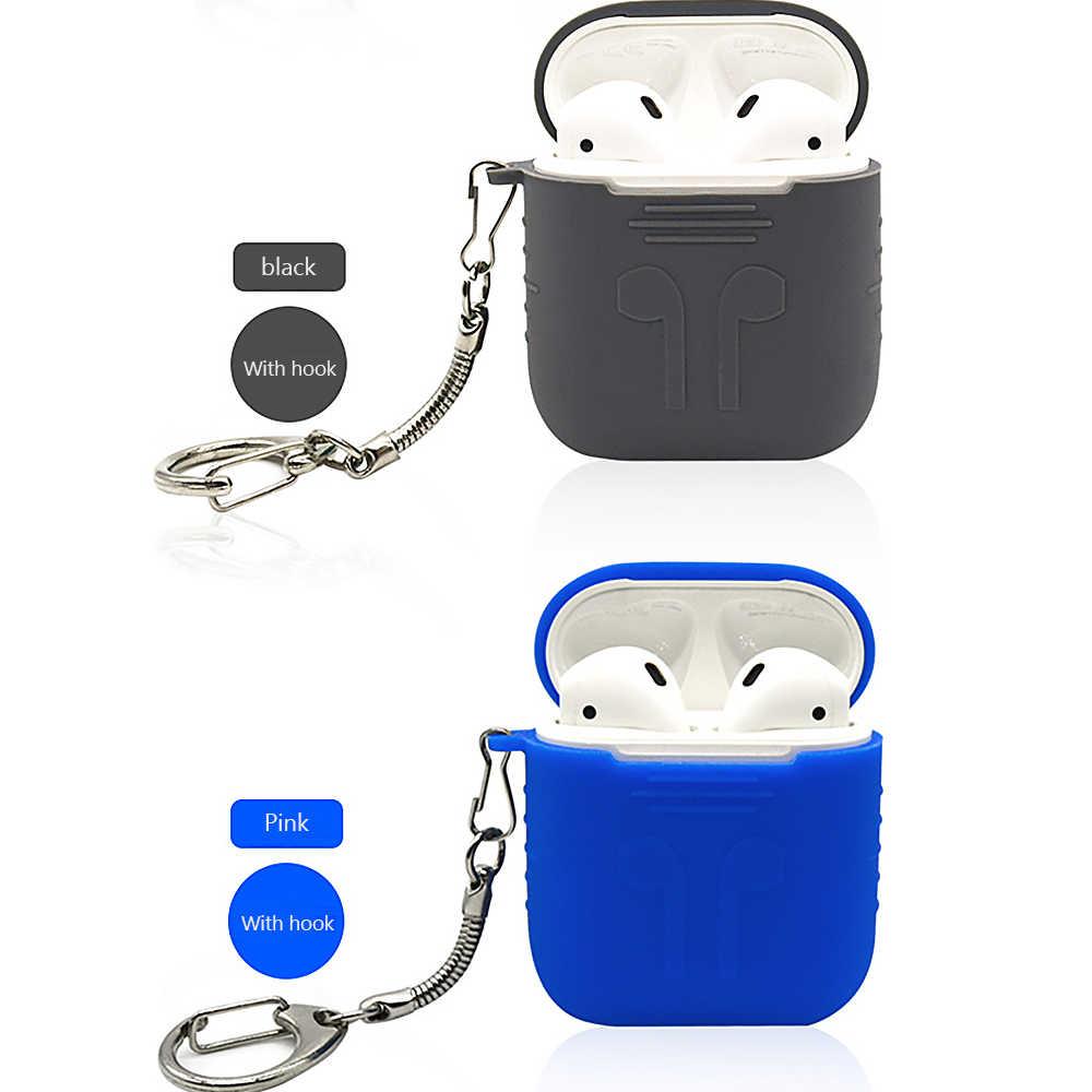 Silikonowe do przenoszenia etui na słuchawki do Apple Airpods skóry pokrowiec etui Box Protector dla słuchawek Earpods słuchawki bezprzewodowe z haczykiem