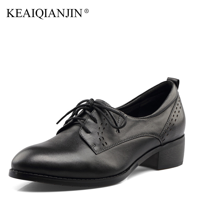 KEAIQIANJIN Woman Genuine Leather Derby Shoes Spring Autumn Black Brown Lace Up Flats Genuine Leather Loafers Lazy Shoes 2017 keaiqianjin woman genuine leather brogue shoes spring autumn black white flats lace up genuine leather loafers lazy shoes 2017