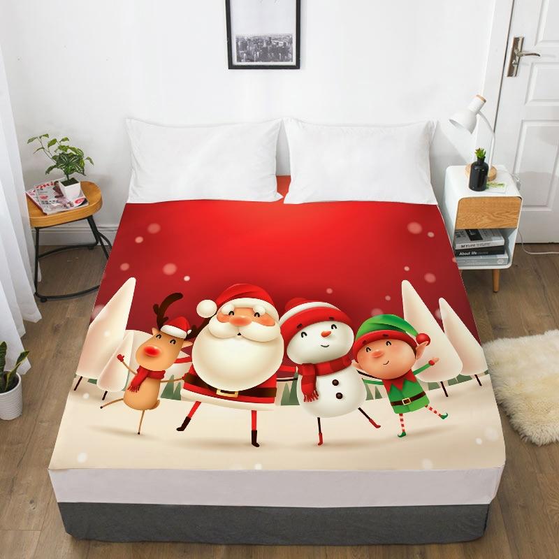3d Hd Digital Printing Custom Laken Met Elastische, Cartoon Hoeslaken Kids Baby, Kerst Leuke Kerstman Matrashoes