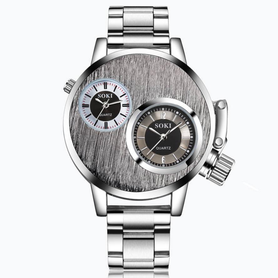 Montre à quartz Hommes En Acier Inoxydable Unique Design Double Fuseau horaire Cadran Mens Montres Argent Sport Horloge Relogio Masculino 2017 Déc06