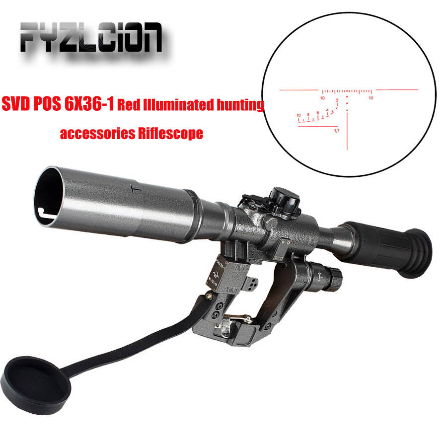 FYZLCION Tactical Hunting POS 6X36-1 Red Illuminated SVD AK Rifle Scope Sniper RifleScope