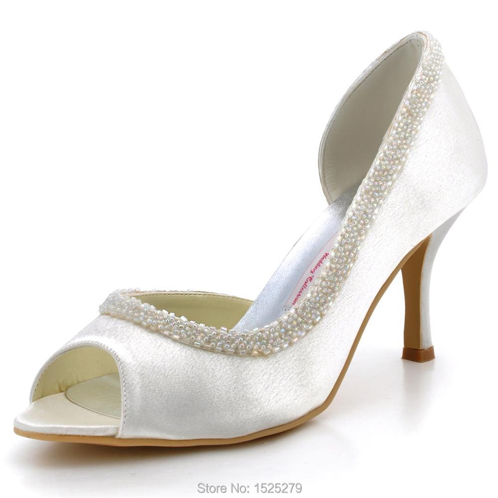 EL-005 Ivory Women Bride Wedding Party Pumps Evening Prom Closed Round Toe Satin Beading Lady Bridal Bridesmaids Shoes