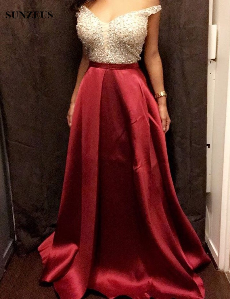 24451555bf3677 Off the Shoulder Red Satin Sparkle Prom Dresses 2017 Shiny Beaded Sequins  Pockets Long Prom Gowns for Girls gala jurken S1115-in Prom Dresses from  Weddings ...