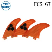 Surf Fins FCS G7 Fin Honeycomb Surfboard Fin Orange color surfing fin Quilhas thruster surf accessories new style carbonfiber orange carbon strip fcs ii surfboard fins thruster fin set 3 compatible m7 surf fin
