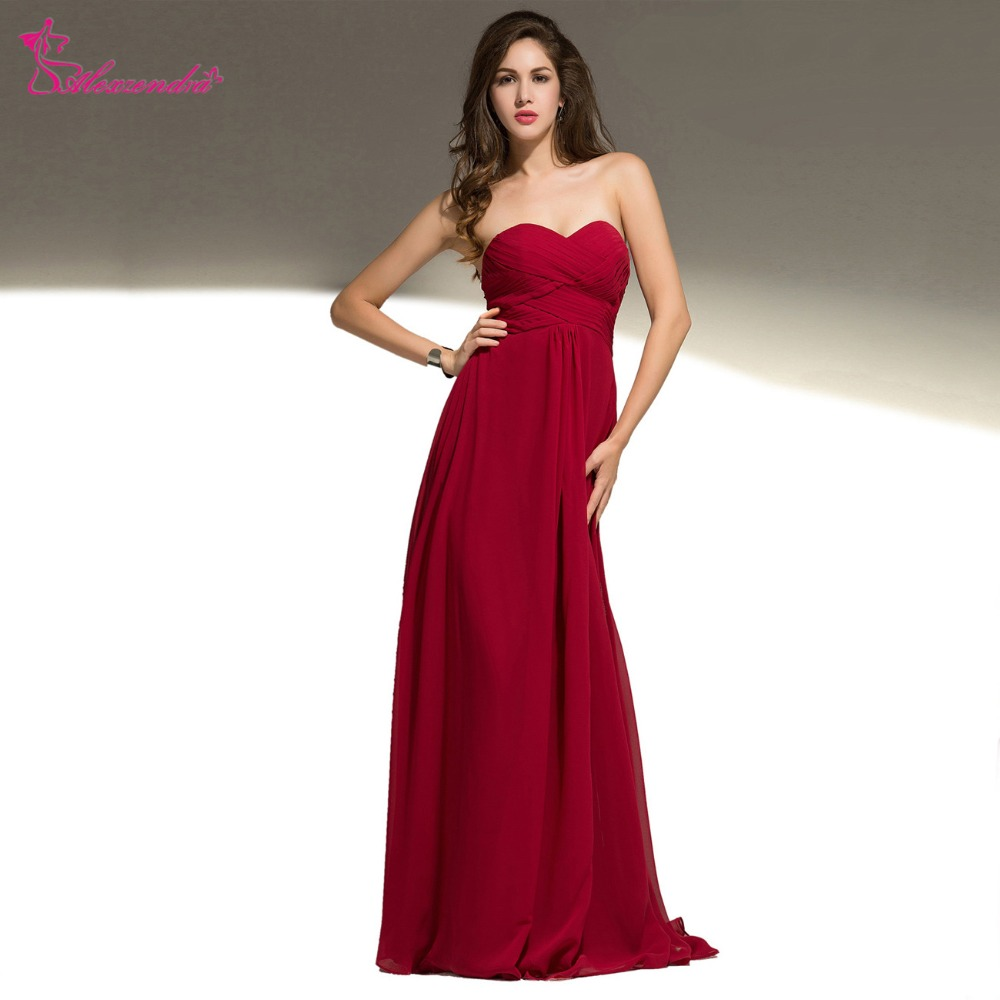 Alexzendra Burgundy Sweetheart A Line Long   Prom     Dresses   Simple Party   Dresses   Plus Size