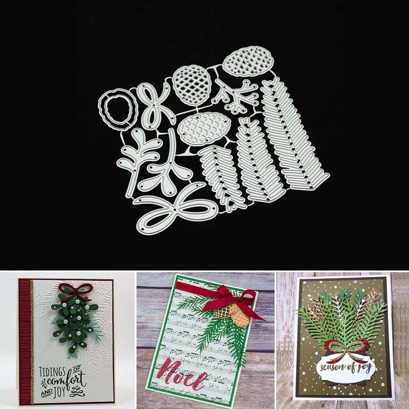 Christmas Leaves Pine Leaf Metal Cutting Dies DIY Scrapbooking Craft Stamps Die Cut Embossing Card Making Stencil Frame
