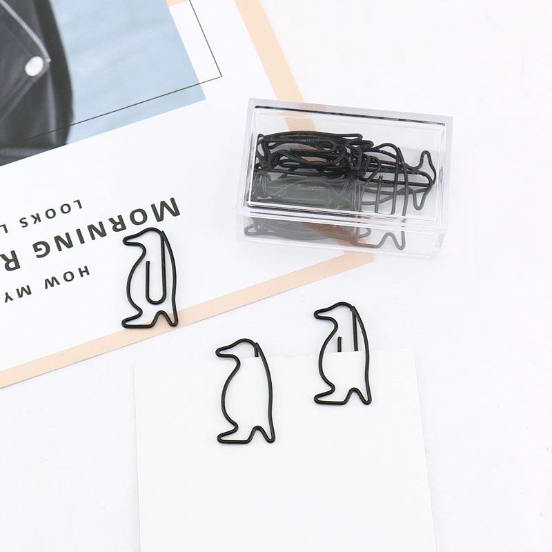 15pcs/box Black Penguin Shape Paper Clips Paper Notes Clips DIY Bookmark Binder Clips Notes Letter