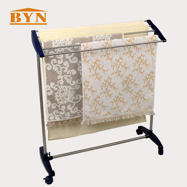 Byn Metal Free Standing Towel Rack Stand Stainless Steel Bathroom Shelf