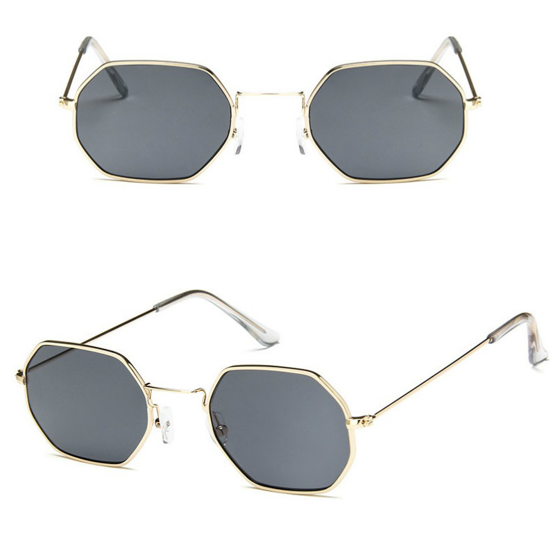 hexagon sunglasses Women okulary 2019 Brand Designer Fashion Rimless Clear Ocean Lenses glass metal Ladies Sun Glasses UV400 in Women 39 s Sunglasses from Apparel Accessories