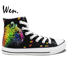 Wen Original Hand Painted Shoes Design Custom Colorful Leopard Pattern Men Women's High Top Canvas Sneakers for Gifts