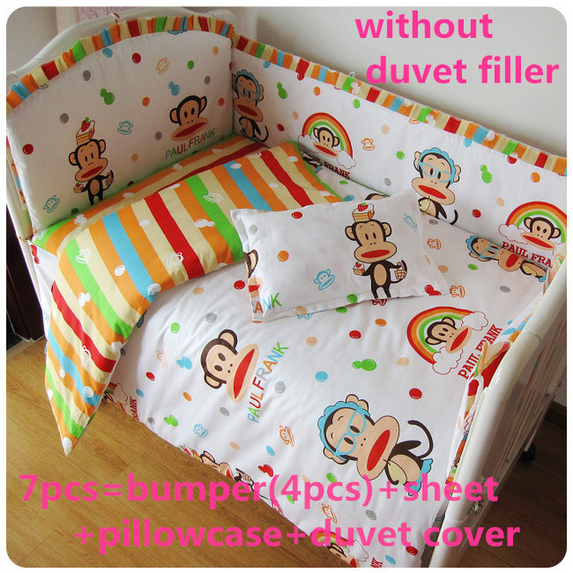 Promotion! 6/7PCS baby bedding set curtain berco crib bumper baby bed set,120*60/120*70cm