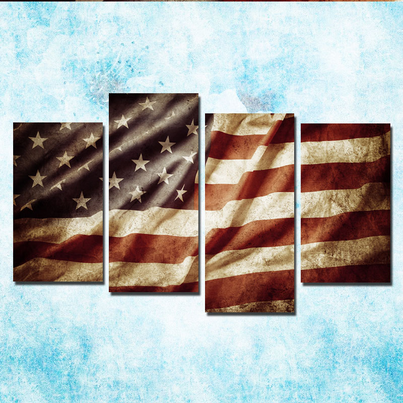 4 Pieces Canvas Painting Retro American Flag Print Art Home Decor Wall Pictures For Living Room In Calligraphy From Garden On