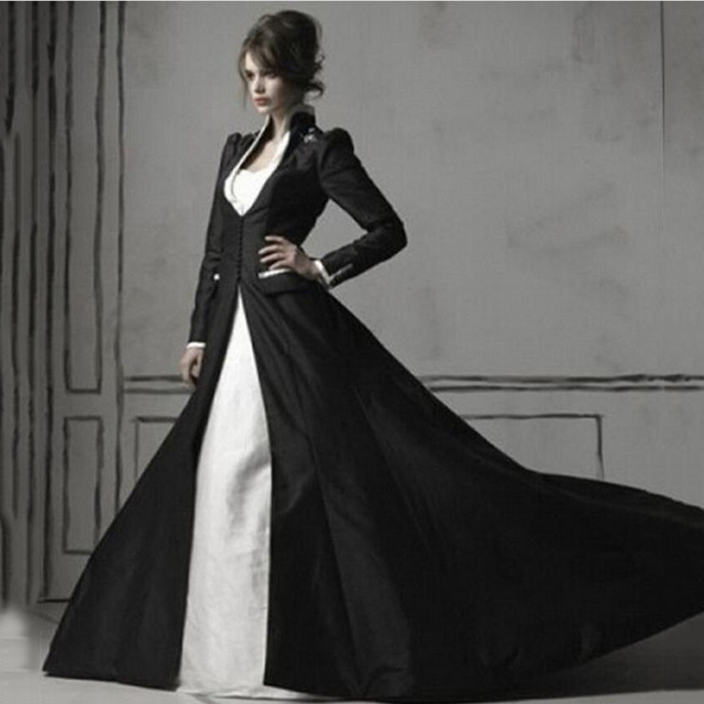 Gothic Top Beaded White And Black Wedding Dresses With Long Sleeve
