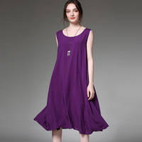 large dress plus size robe 2019 summer boheme femme oversized casual purple chiffon vest dresses for women loose sleeveless