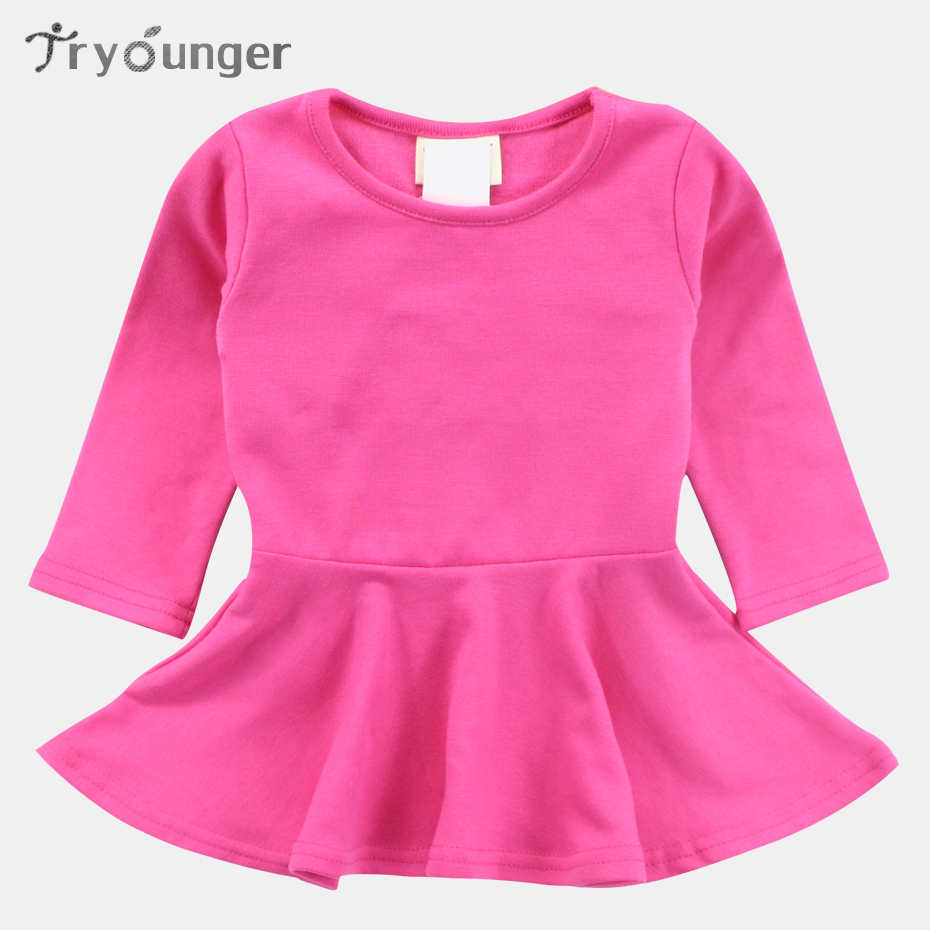 Tryounger Candy Color Baby Girl Dresses 100% Cotton Long Sleeve Solid Princess Dress Bow-knot O-neck Casual Kids Pleated Dresses