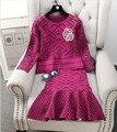 Outono Inverno Lã Mulheres Imprimir Saias e Ternos Camisola de Malha Plissado Saias Sereia 3D Emblema Da Flor Conjuntos de Inverno Moda Feminina
