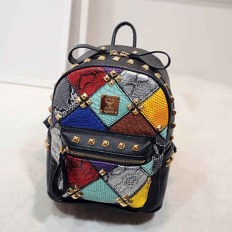 Fashion New Fish Scales Rivet Luxury Designer Brand Women Backpack Pu Leather Teenage Backpacks For Girls