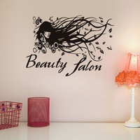 Fashion Salon Long Hair Lady Wall Decals Woman Face Creative Home Decor Vinyl Removable Diy Wall Pattern Art Murals Stickers